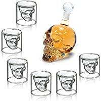 MVPOWER Set de 6 vaso de cristal Vaso cerveza Vino 350ML Botella de vino Botella Cráneo Aireador de Vino 75ML Vidrio