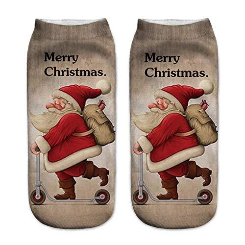 (XuxMim 3D gedruckte Weihnachtsfrauen-beiläufige Socken Nette Unisex-niedrige Schnitt-Knöchelsocken 4 Paare)