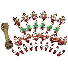 Jun - 28 Pinzas de Madera con diseño de Papá Noel, Copo de Nieve,