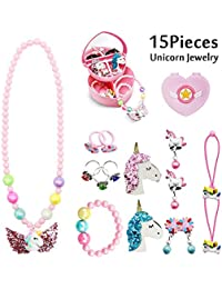 15 Pack Unicorn Jewellery for Girls, Chunky Glitter Unicorn Necklace, Bracelet, Earrings, Rings, Hair Clips, Hair Ties with Pink Jewellery Box - Gift for Little Girl, Princess Dress Up Accessories