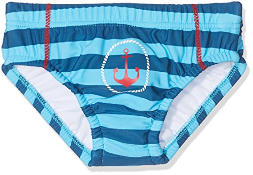 DIMO-TEX Sun Baby-Jungen WindelbadehoseUV-Schutz 50 Schwimmwindel, Mehrfarbig (Navy/Aqua Gestreift), 80 (Herstellergröße: 74/80)