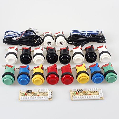 EG STARTS Clásico juego de arcada de bricolaje Parte de Mame USB gabinete 2x Zero Delay codificador USB para juegos de PC + 2x 8 Camino Joystick + 18x Arcade Push Button (incluyendo 1p / 2p teclas de partida) Kits de color Múltiples