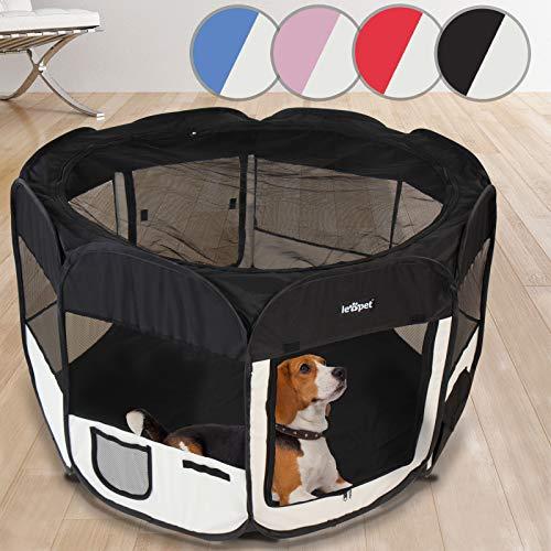 Welpenlaufstall | Faltbar und Tragbar, Ø 125 cm, Farbwahl, für Welpen, Hunde, Katze, Kleintiere | Tierfreigehege Hundelaufstall Tierlaufstall (Schwarz-Weiß) -