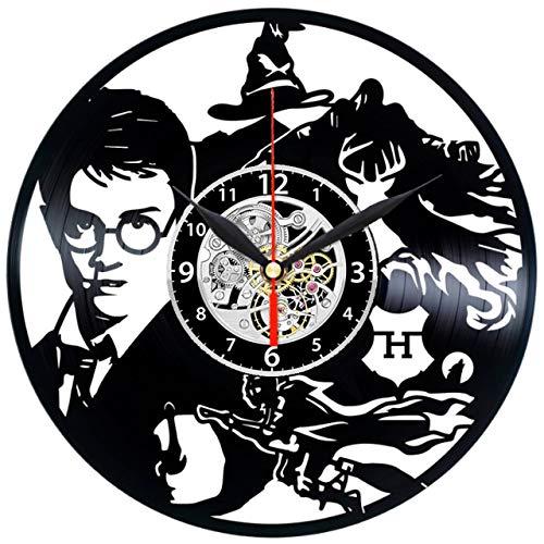 """51krAjmJJeL - HARRY POTTER Reloj De Pared Vintage Accesorios De Decoración del Hogar Diseño Moderno Reloj De Vinilo Colgante Reloj De Pared Reloj Único 12"""" Idea de Regalo Creativo vinilo pared Reloj HARRY POTTER"""