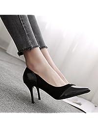 FLYRCX La mujer negra de zapatos de tacón, tacón fino suede temperamento parte solo zapatos Zapatos,38