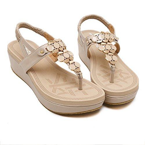 Bege Sapatos 35 Senhoras De Verão Sandálias Boêmio Eu Siketu 39 qzcAHOc