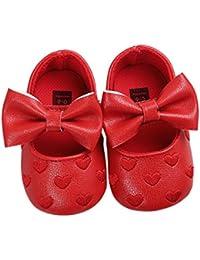 LanLan Zapatos de niños, Calzados/Zapatillas/Sandalias de niños Baby Girls Heart Pattern Bow Suela Blanda Zapatos Antideslizantes PU de Cuero Princesa Infantil Zapatos para niños pequeños