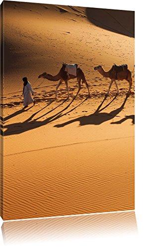 Kamelkarawane in der Wüste, Format: 80x60 auf Leinwand, XXL riesige Bilder fertig gerahmt mit Keilrahmen, Kunstdruck auf Wandbild mit Rahmen, günstiger als Gemälde oder Ölbild, kein Poster oder Plakat - Sonnenaufgang In Der Wüste Fertig