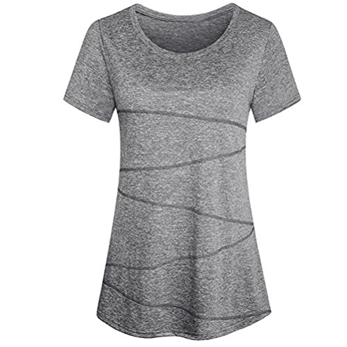 SEWORLD Damen Sommer Mode Frauen Solide Lose O-Ausschnitt Bluse Kurzarm Yoga Tops Activewear Lauftraining T-Shirt(Grau,EU-40/CN-M) (Activewear-jacke Farbe)