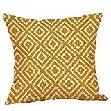 wuayi Jaune Moutarde Geometric Fall Automne Coton Lin carré Couvre-lit décoratif...