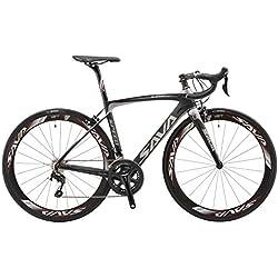 SAVA Bicicleta de Carretera de Fibra de Carbono 700C SHIMANO 5800 22-Velocidad Sistema de Transmisión/Frenado Maxxis Neumáticos Fi'zi: k Cojín Bicicleta Carbono Urbana (Negro & Gris, 520mm)