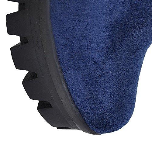 VogueZone009 Femme Couleur Unie à Talon Haut Rond Suédé Tire Bottes Bleu