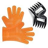 Omiki Silikon Handschuhe Fleisch Klauen Hitzebeständige Grillen Ofen Handschuhe Handschuhe Set BBQ Kochen Handschuhe mit Fleisch Shredder