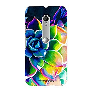 HomeSoGood Colorful Painted Flower Multicolor 3D Mobile Case For Moto G 3rd Gen (Back Cover)