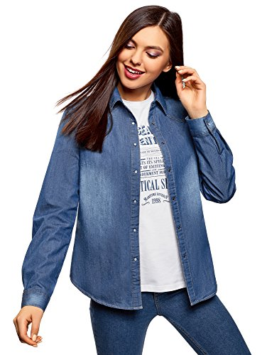 Oodji ultra donna camicia in jeans con bottoni a pressione, blu, it 46/eu 42/l