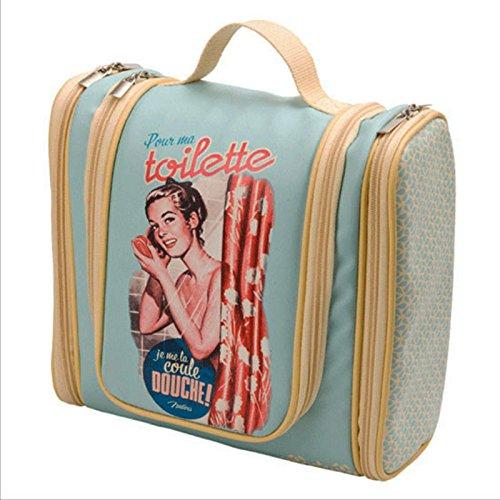 Bolso Neceser de Aseo y Baño para Mujer Clasico Diseño Vintage PARIS Retro Desplegable 510900 7093