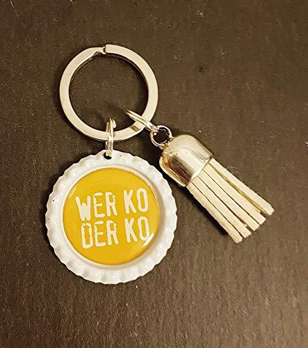 Schlüsselanhänger Kronkorken - Wer ko der ko & Quaste/Tassel - verschiedene Farben - Individualisierbar -Handmade - Edelstahl-bier Kann
