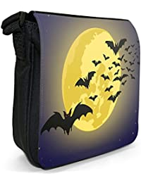 Moonlight Bats Small Black Canvas Shoulder Bag / Handbag