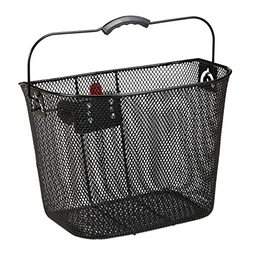 Relaxdays Fahrradkorb für Vorne, abnehmbar, mit Klicksystem, Lenkerkorb Metall, engmaschig, HBT 27x34,5x26cm, schwarz