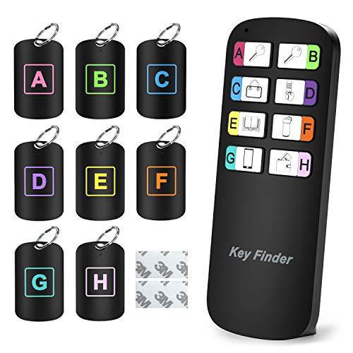 Key Finder, Magicfly Wireless RF Artikel-Finder, Artikel-Tracker-Support-Fernbedienung Schlüsselbundsucher, Empfänger leuchten beim Piepen, 1 HF-Sender und 8 Empfänger - Hf-empfänger