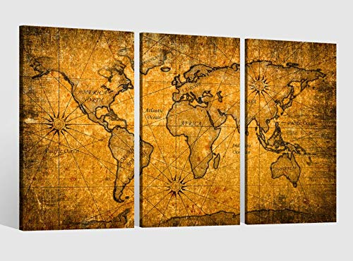 Leinwandbild 3 tlg Karte Welt Weltkarte braun antike Landkarte Afrika Bild Bilder Leinwand Leinwandbilder Holz Wandbild mehrteilig Kunstdruck fertig gerahmt 9AB469, 3 tlg BxH:120x80cm (3Stk 40x 80cm)