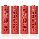 BTIHCEUOT Pile sèche Ni-MH Rechargeable, 4 Piles AA universelles pour appareils électroniques (1.2V 3000mAh)(Rouge)