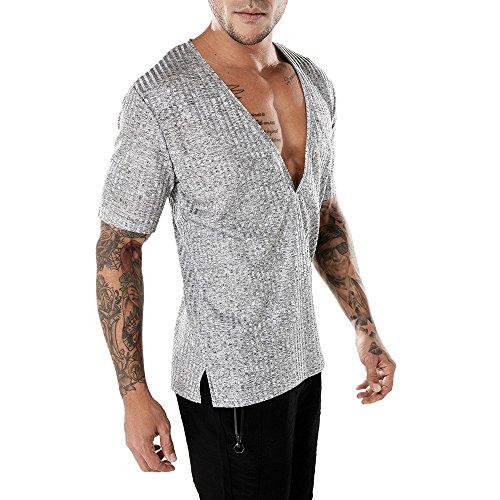 Eaylis Herren Kurzarm T-Shirt Tops Einfarbiges KurzäRmliges T-Shirt Mit Vertikalen Streifen Und V-Ausschnitt