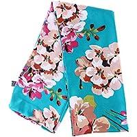 BESTOYARD Bufanda de flores Chiffon Cute Lovely Satin Bufandas de dos pisos estampadas Bufandas de seda suaves Pañuelo de abrigo de verano para dama de mujer