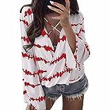 iHENGH Vorweihnachtliche Karnevalsaktion Damen Frühling Sommer Top Bluse Bequem Lässig Mode Frauen lose Langarm Shirt Streifen Tops überlappende Chiffon lässige Bluse