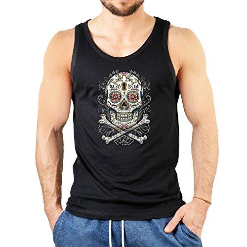 Mexican Herren TankTop ::: Gothic Skull ::: USA Top mit Motiv Schwarz