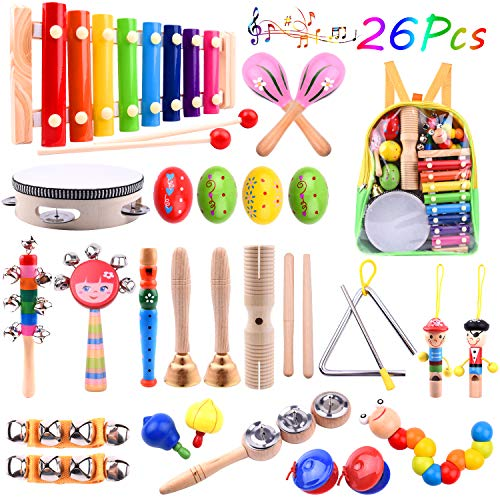 TUPARKA 26 Pcs Baby Musical Instruments Set Toddler Percussion Instrument Toy Wooden Xylophone Glockenspiel Toys for Kid Early Learning Musical Toys Girls Boys Gift with Backpack