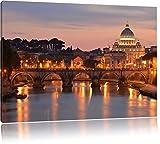 Vatikan Petersplatz Sehenswürdigkeit Format: 120x80 cm auf Leinwand, XXL riesige Bilder fertig gerahmt mit Keilrahmen, Kunstdruck auf Wandbild mit Rahmen, günstiger als Gemälde oder Ölbild, kein Poster oder Plakat