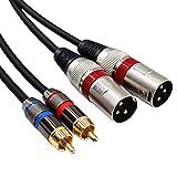 Yeung Qee Dual Cinch-Stecker auf Dual XLR-Buchse, 2 XLR-Buchsen auf 2 Cinch-Stecker, HiFi-Audiokabel für Verstärker, Mischer, Mikrofon, Kabel 2 RCA to 2xlr Male,3m