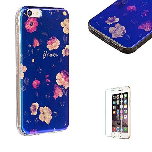 Hülle Für iPhone SE,Blaues Licht Reflektieren Handy Hülle Für iPhone 5S,Funyye Luxuriös Schön Mode Blau Licht Weiß Floral Blume Muster Entwurf Shining Glitzer TPU Soft Weich Ultra Thin Dünn Zurück Sil Rose Blume