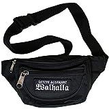Bauchtasche Letzte Ausfahrt Walhalla Gürteltasche mit DREI Fächern und abnehmbaren Patch in schwarz