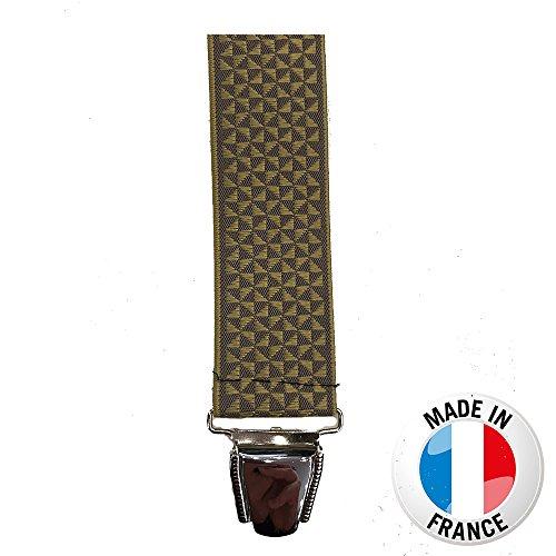 """Bretelle large """"X"""" 3.5 cm à pinces/clips Fabrication française Jacquard Or"""