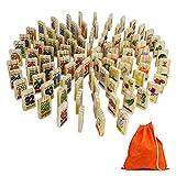 Dominosteine Holz Spielzeug Domino Kinder Spiel Holzspielzeug BausteineStapel mit Tasche Aufbewahrung Geschenk für Kinder Junge Mädchen ab 3 4 5 6 Jahren (100 Pcs)