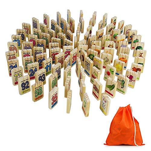 Holzspielzeug Domino Spiel Dominosteine Holz Spielzeug Bausteine Stapel mit Tasche Aufbewahrung Geschenk für Kinder Junge Mädchen ab 3 4 5 6 Jahre Alt (100 Pcs), (MEHRWEG)