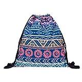 Tasche mit Kordelzug und 3-D-Hippie-Muster für Sport, Gym, Schwimmen, Schule, Rucksack, violet aztec ombre