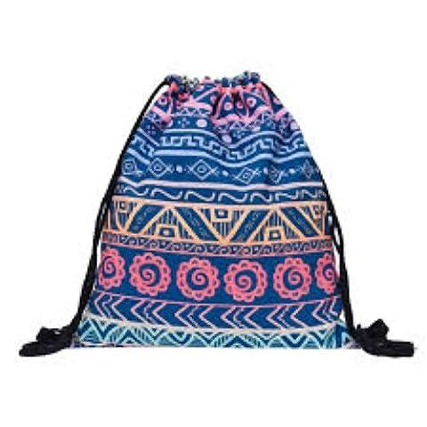 Hippie-Muster Tasche mit Kordelzug 3D bedrucktes Cinch Sport Gym Schwimmen Schule Rucksack, violet aztec ombre