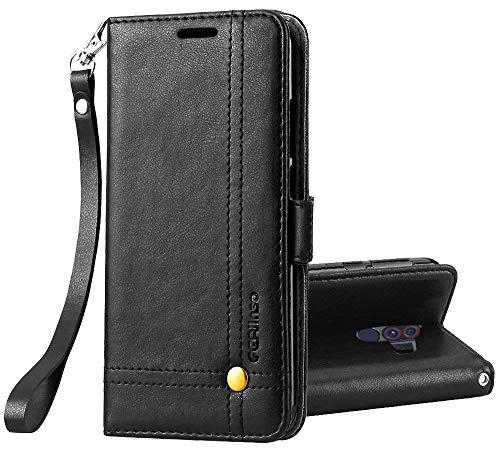 Ferilinso Hülle Kompatibel mit Xiaomi Pocophone F1, Elegantes Retro Leder mit Identifikation Kreditkarte Schlitz Halter Schlag Abdeckungs Standplatz magnetischer Verschluss Kasten (Schwarz) -