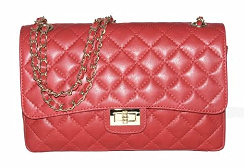 Italian Leather Quilted Designer Inspired Handbag with Gold Trims (Red)