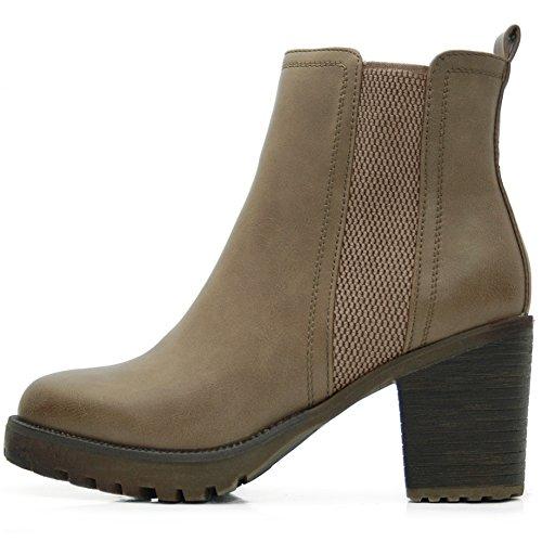 FLY 4 Chelsea Boots Plateau Stiefeletten in Vielen Farben und Mustern (37, Khaki SL) (Sl Boots)