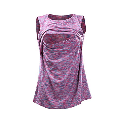 Juleya Damen Pflegetücher Top Atmungsaktive Stillen Kleidung Ärmellose Weste Lila M (Tops Ärmellose Stillen)