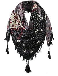MRULIC Echarpes foulards femme Grand Long Écharpe Carreaux avec Franges  Vintage Foulard Châle Motif Cape Plaid eb1d865ed06