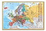 Europa Karte mit Flaggen Wall Chart Poster Kork Pinnwand Buchenholz-Rahmen, 96,5x 66cm (ca. 96,5x 66cm)