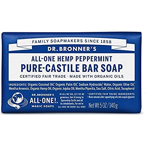 Dr Bronner Peppermint Soap Bar 140g by Dr. Bronner