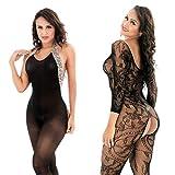 LOVELYBOBO 2-Pack Conjunto de lencería La ropa interior de la ropa interior body de la muñeca del cordón de las mujeres de la ropa de noche del vestido negro