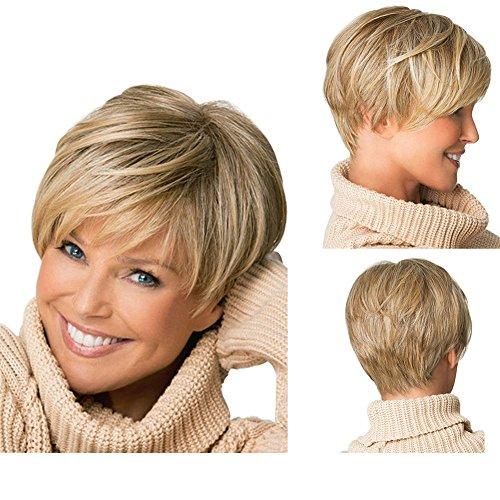 tonake Neue, Stilvolle blond kurz Leichte, welliges Haar Perücke hitzebeständig für Frauen (Für Kurze Frauen Perücken)