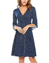 Beyove Damen Polka Dots Wickelkleider V- Ausschnitt Jersey Kleid  Wickeloptik Partykleider f75fce715b